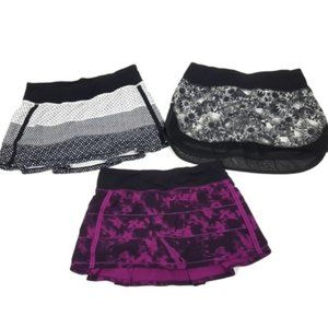 Lululemon Lot 3 Hotty Hot Pace Rival Skirt II Purple Black Grey Skirt Skort Sz 6